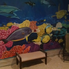 This beautiful underwater mural was painted by a local artist.